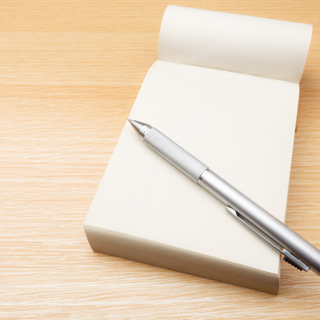 """""""Memo pad and pen on the table"""" stock image"""