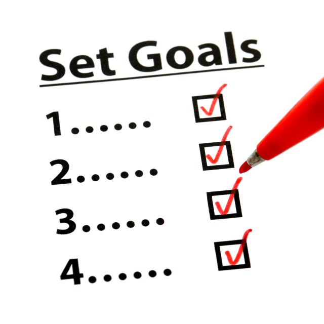 """Set Goal with check box"" stock image"