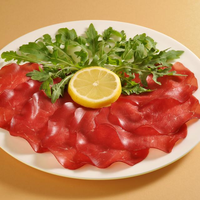 """Dish with bresaola and arugula"" stock image"