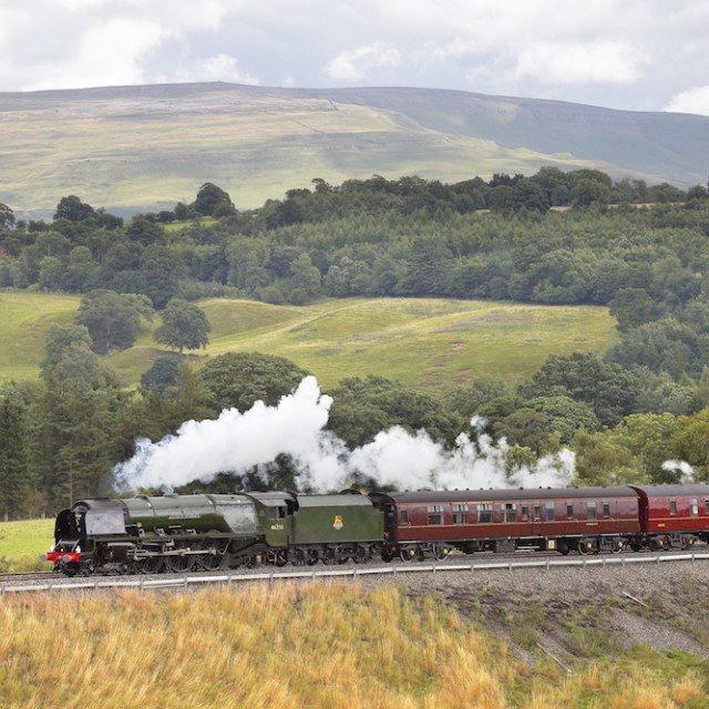 """Steam locomotive ""Duchess of Sutherland"" on the Settle to Carlisle Railway Line"" stock image"