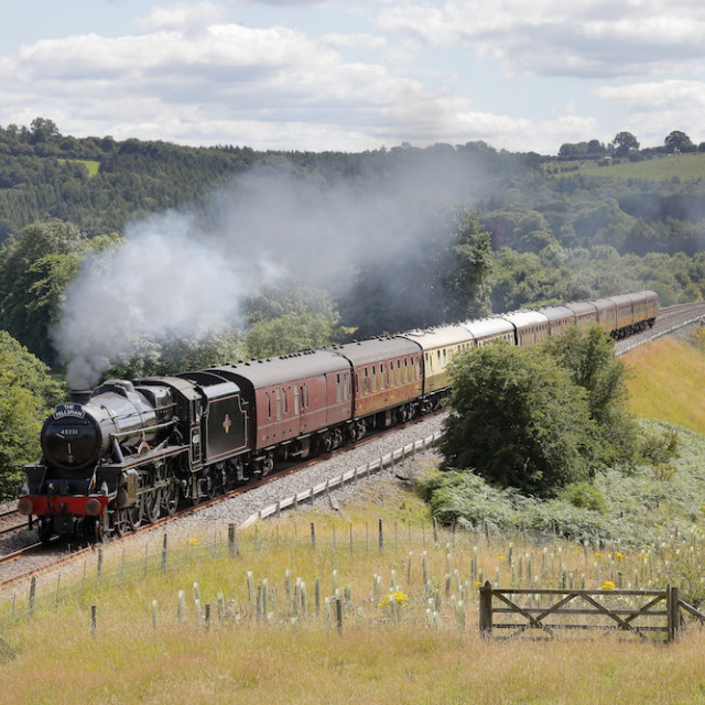 """Steam locomotive LMS Stanier Class 5 4-6-0 The Sherwood Forester 45231 on the Settle to Carlisle Railway Line"" stock image"