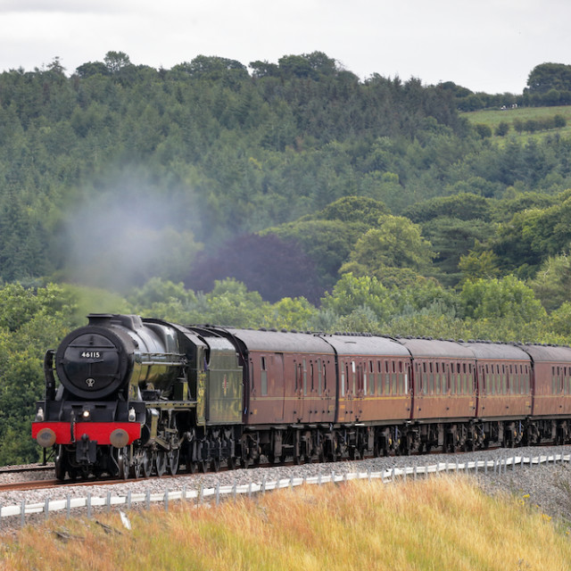 """Steam train Scots Guardsman on the Settle to Carlisle Railway Line"" stock image"