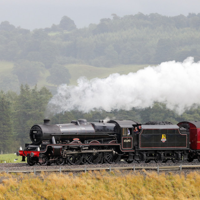 """Steam locomotive ""Leander"", Eden Valley, Cumbria, England, UK."" stock image"