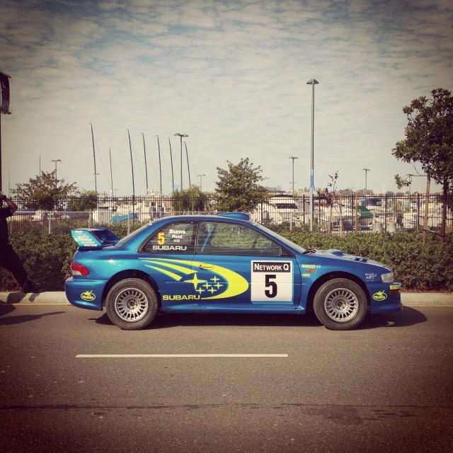 """1999 Subaru Impreza - Richard Burns"" stock image"