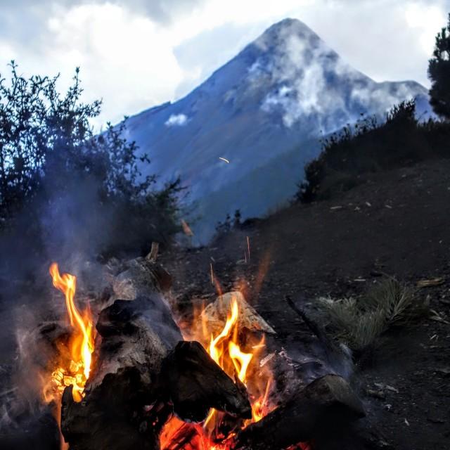 """""""Double fire, Acatenango, Guatemala."""" stock image"""
