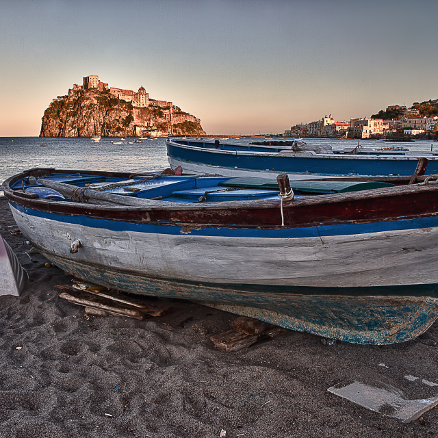"""Aragonese Casle (Ischia Island) view beach old prison at sunse 1"" stock image"