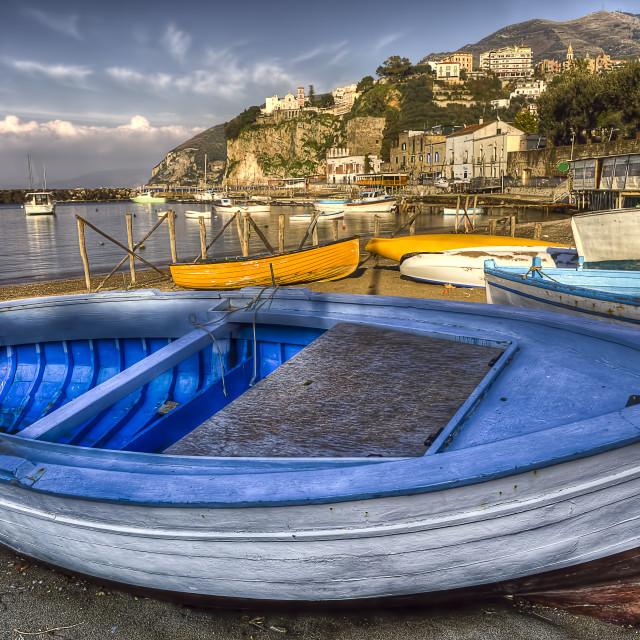 """Seiano harbor : boats on the beach"" stock image"