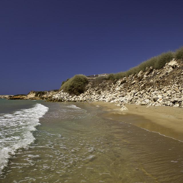"""Beach of the ants Pachino Sicily Italy"" stock image"