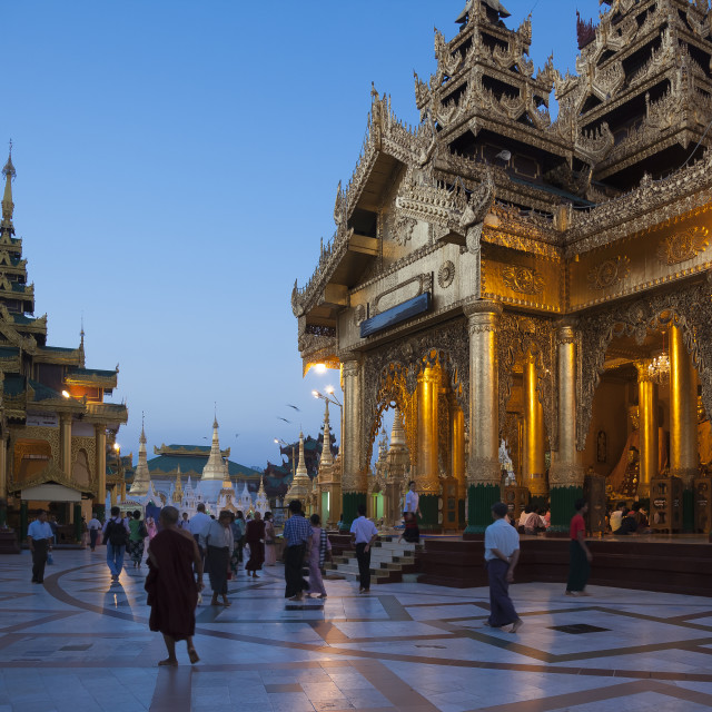 """Schwedagon Pagoda in Sunrise"" stock image"