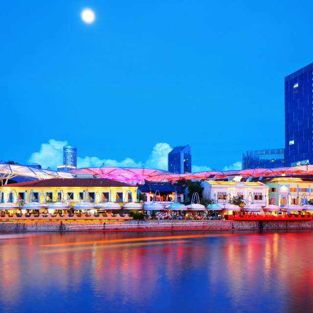 """Singapore city and river by night"" stock image"