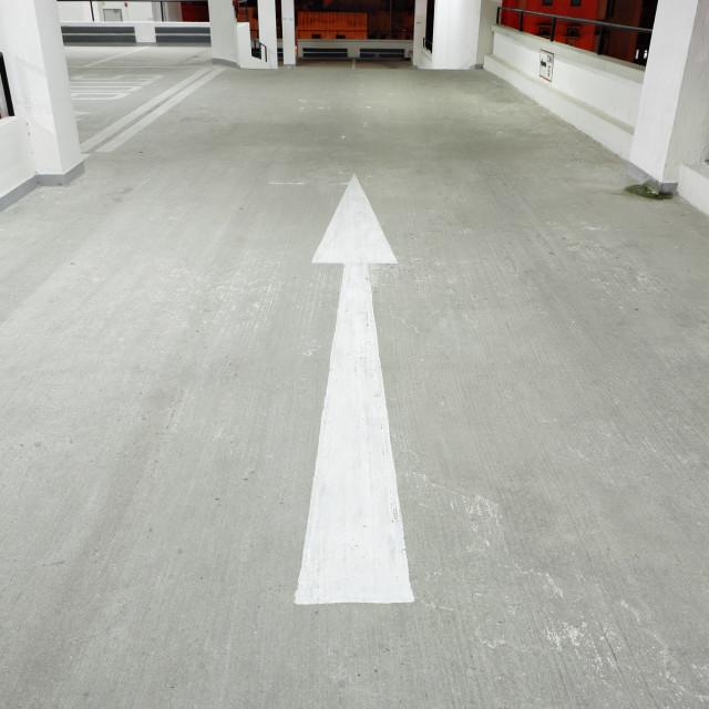 """arrow in car park"" stock image"