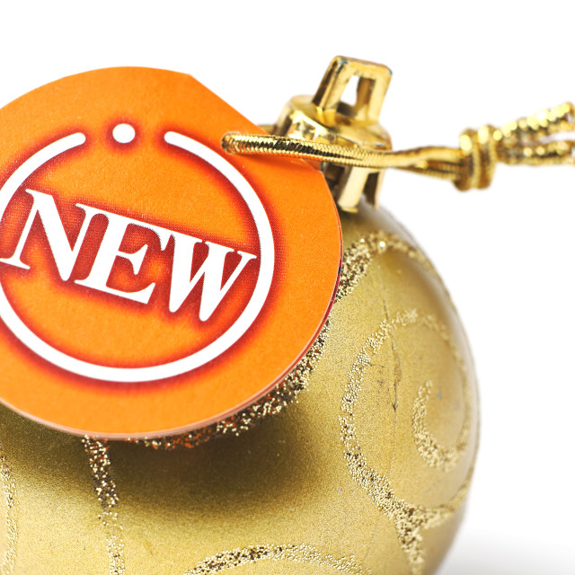 """christmas ball with new tag"" stock image"