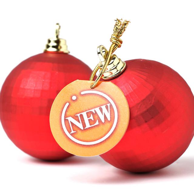 """""""christmas balls with new tag"""" stock image"""