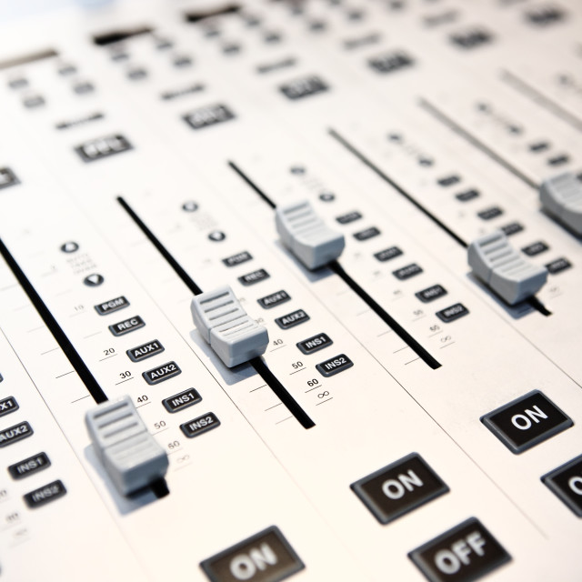 """""""controls of audio mixing console"""" stock image"""