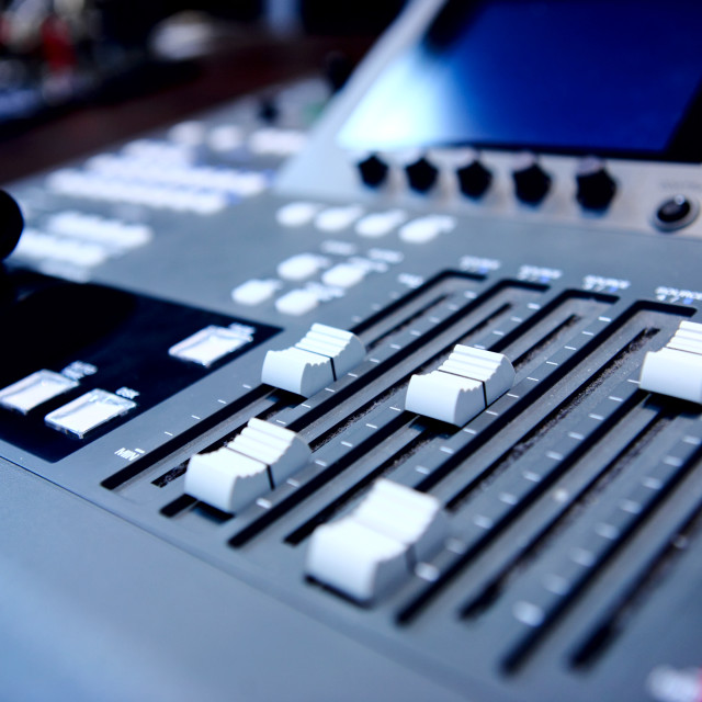 """controls of audio mixing console"" stock image"