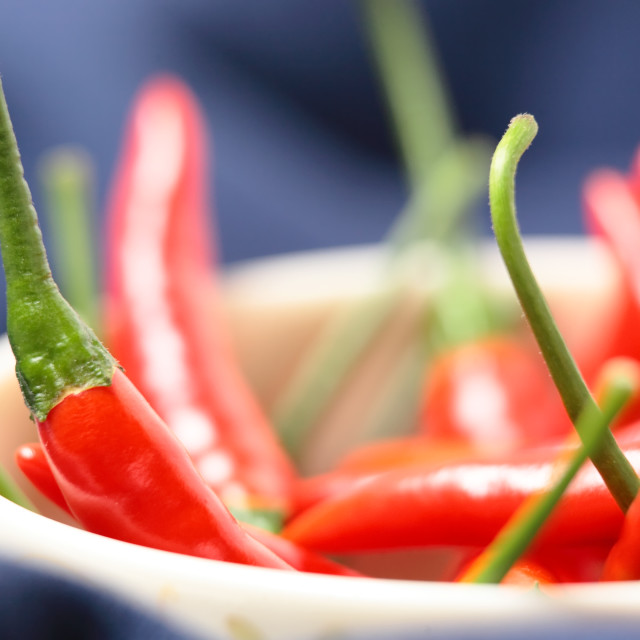 """red pepper in bowl"" stock image"