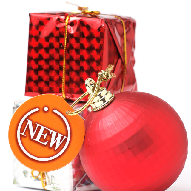 """gift and christmas balls with new tag"" stock image"