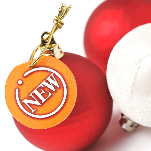 """christmas balls with new tag"" stock image"