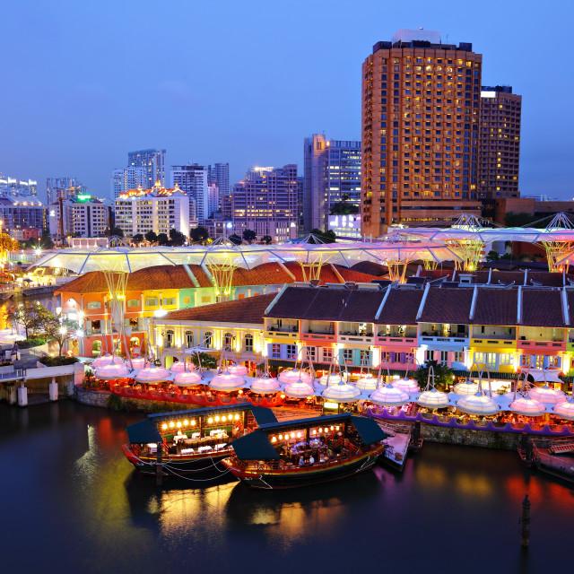 """Singapore city at night"" stock image"