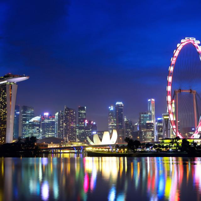 """""""Singapore city skyline at night"""" stock image"""