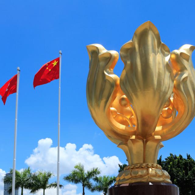 """Golden bauhinia square in Hong Kong"" stock image"