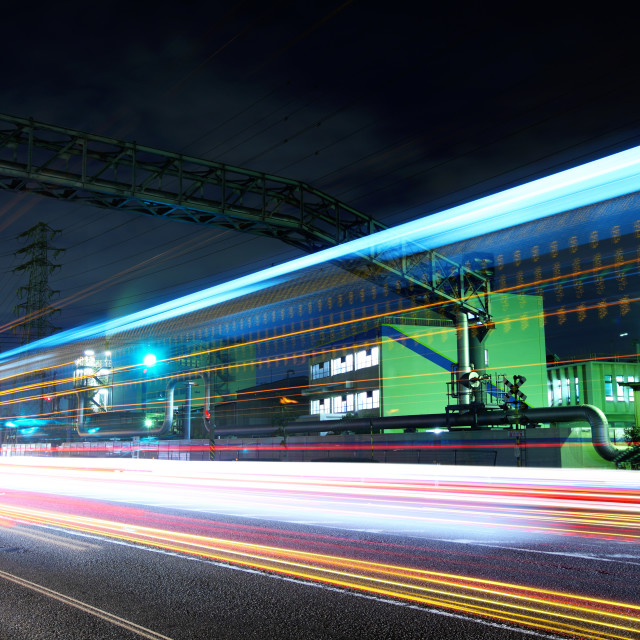 """Industrial plant at night"" stock image"