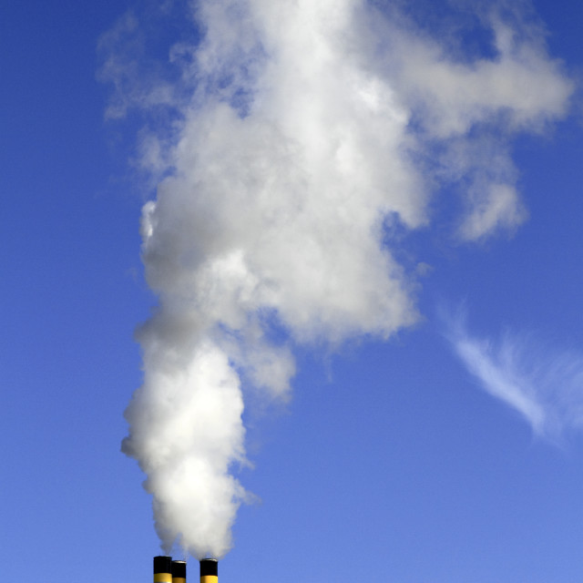 """Chimney emitting smoke"" stock image"