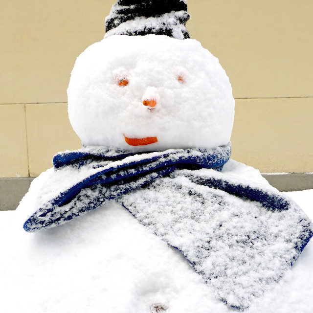 """""""Fat snowman with a black hat"""" stock image"""