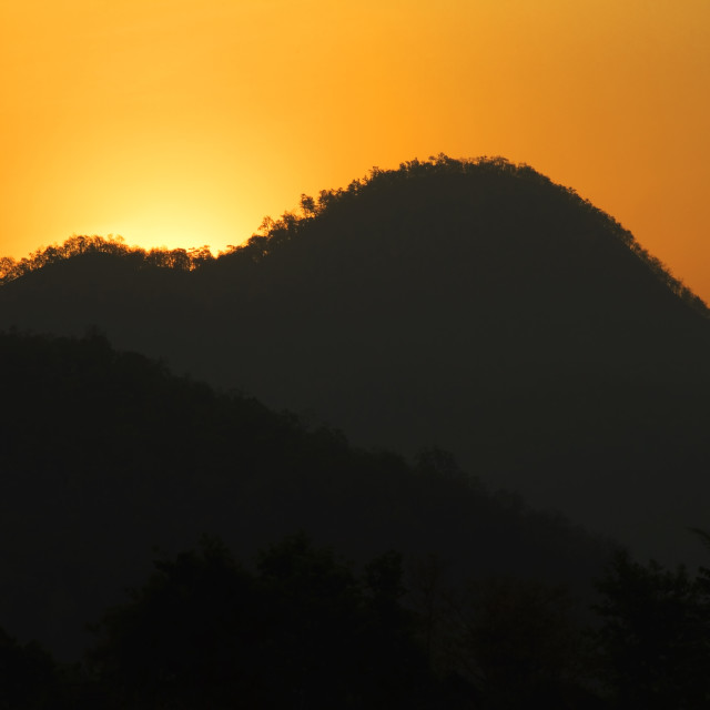 """""""Sunrise in the jungle of Thailand"""" stock image"""