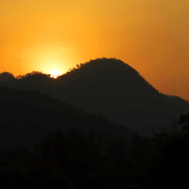 """""""Sunrise in the mountains of Thailand"""" stock image"""