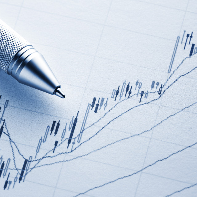"""Increasing stock market graph with pen"" stock image"
