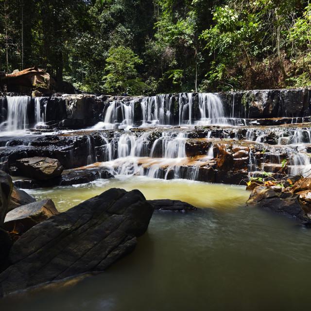 """""""Waterfall from Jeram pelangi,Batu Kawah, Kuala Sentul, Maran, Pahang, Malaysia"""" stock image"""