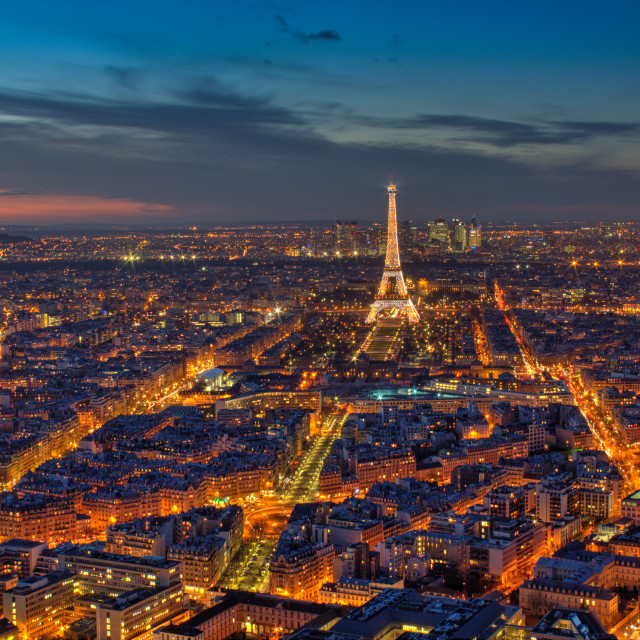 """Paris at Dusk, Eiffel Tower"" stock image"