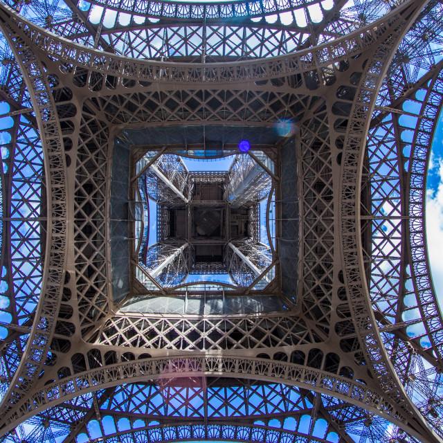 """Eiffel Tower from below, Paris"" stock image"