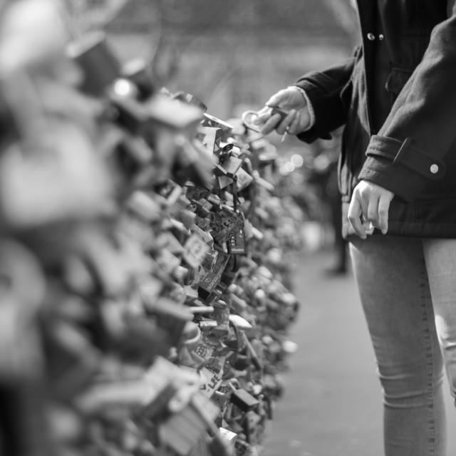 """Love Lock Bridge, Paris, Black and white"" stock image"