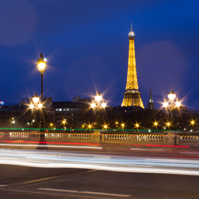 """Eiffel Tower, Light trails"" stock image"