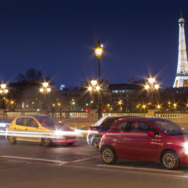 """""""Eiffel tower in traffic"""" stock image"""