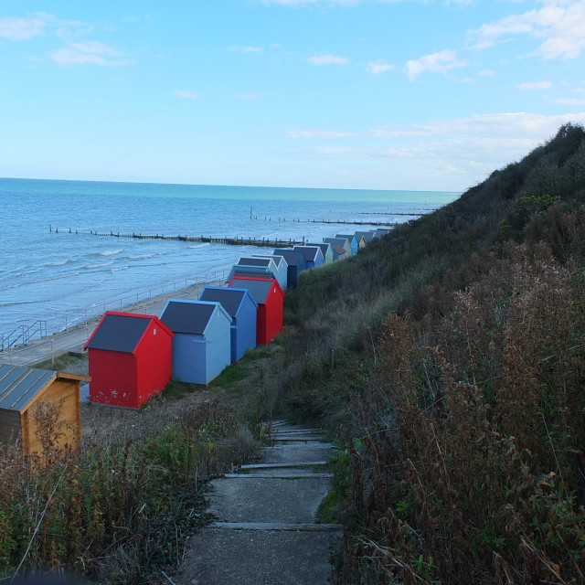 """Colourfull beach huts"" stock image"