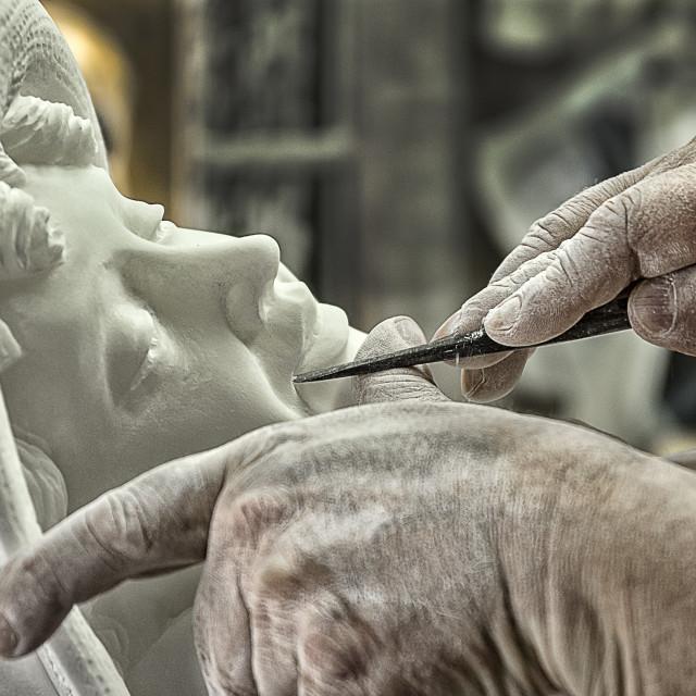 """Alabaster sculpture Volterra village (Italy)"" stock image"