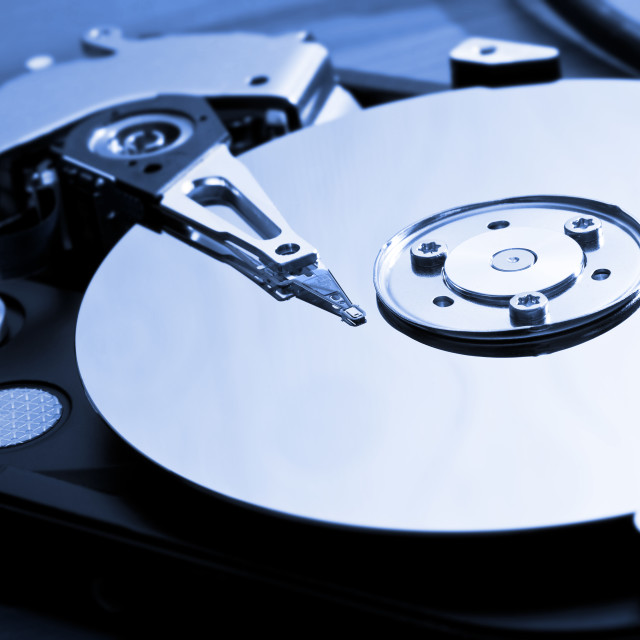 """""""Close-up of the opened Hard Disk Drive"""" stock image"""