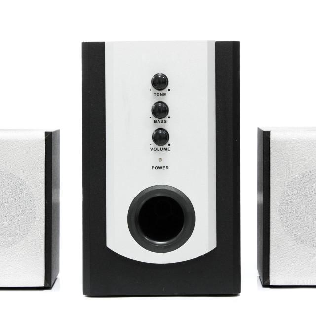 """Computer multimedia speaker set isolated on white"" stock image"