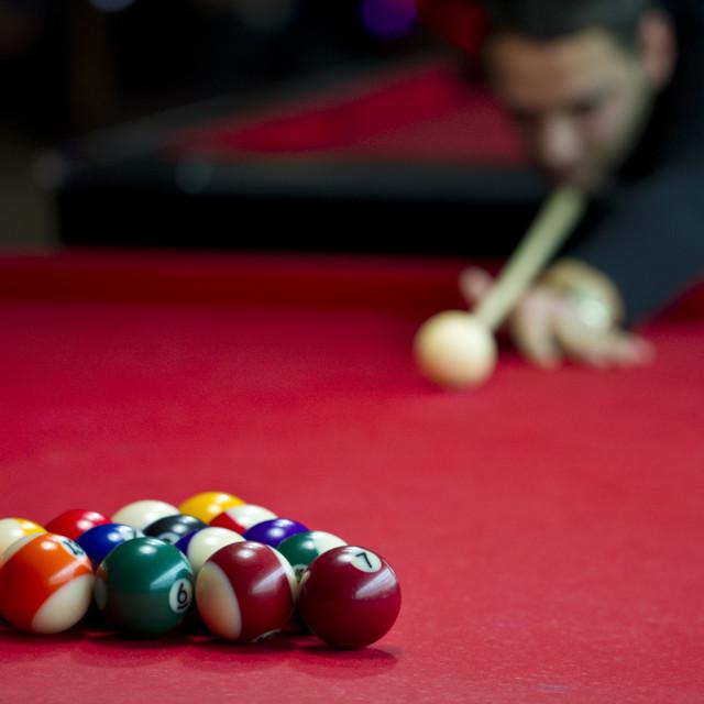 """Man playing biliards"" stock image"