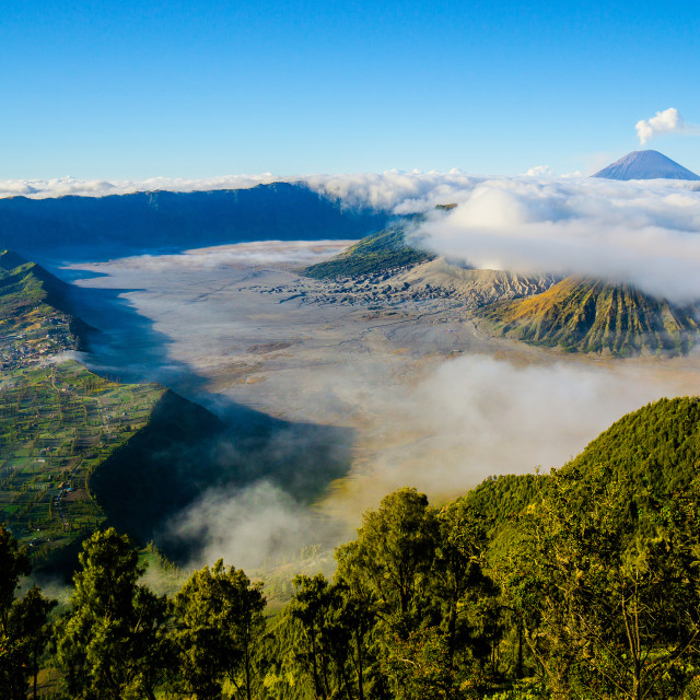 """Bromo with mist and foggy moment"" stock image"