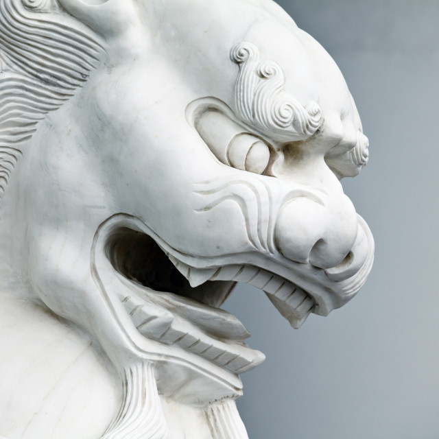 """Chinese lion statue close up"" stock image"