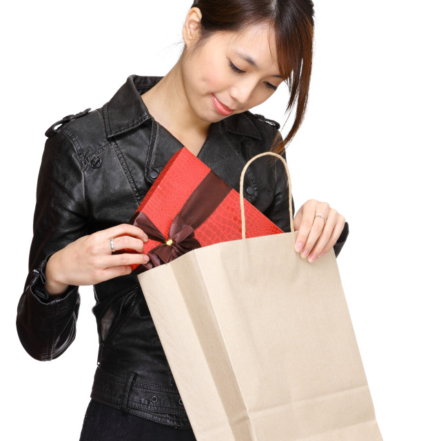 """Asian woman bought a gift"" stock image"
