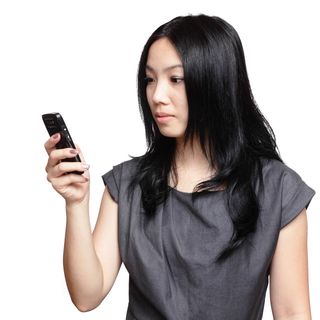 """girl sms on mobile phone"" stock image"