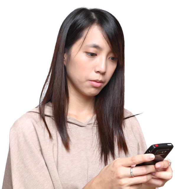 """girl reads sms on phone"" stock image"