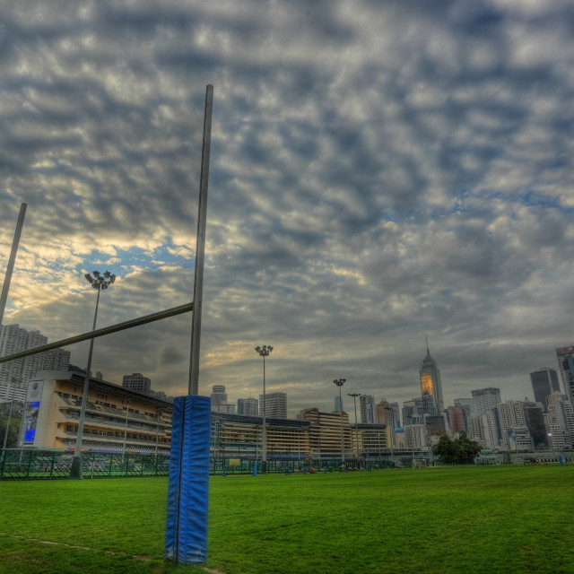 """rugby goalposts in HDR."" stock image"