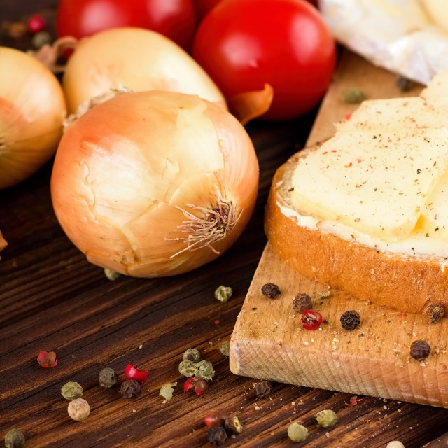 """Color pepper around vegetable and bread with romadur cheese"" stock image"