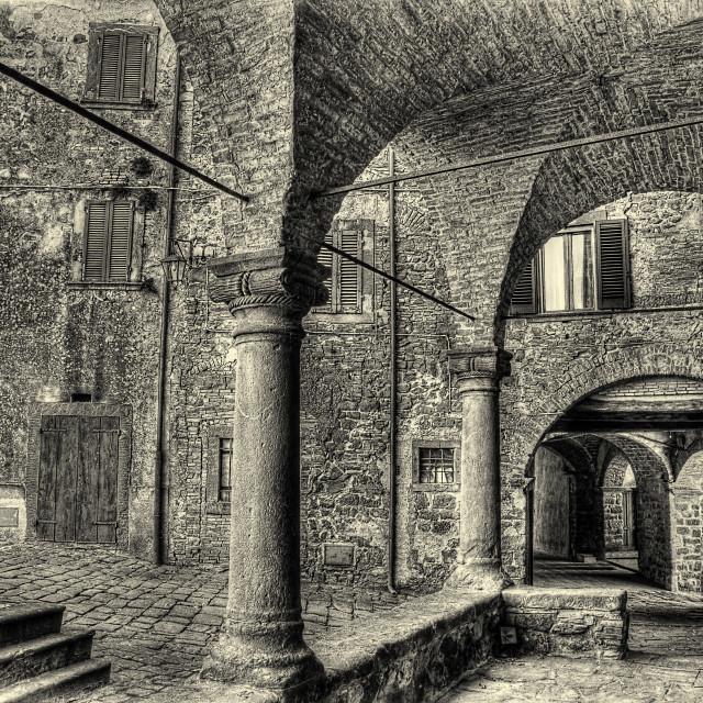 """Montecatini Val di Cecina italian medieval village monochrome"" stock image"